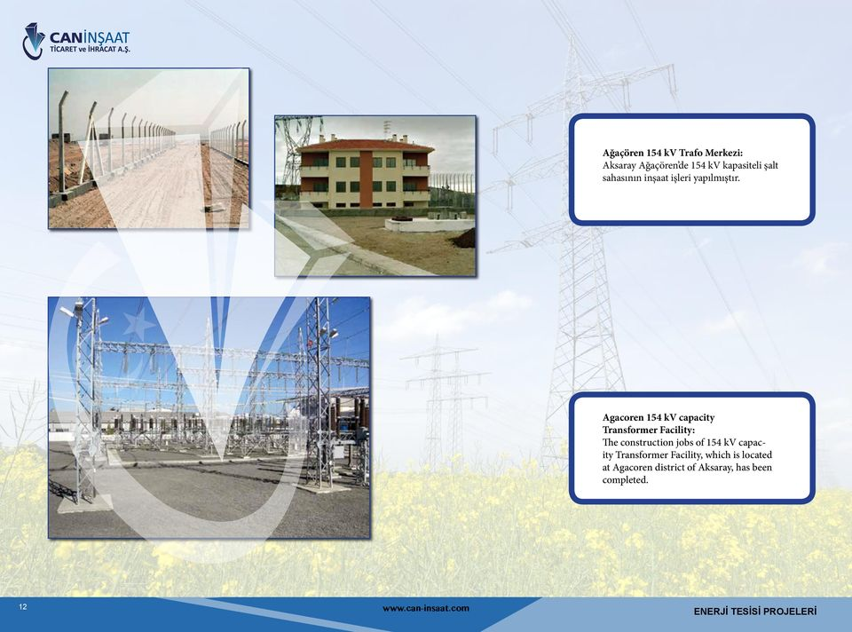 Agacoren 154 kv capacity Transformer Facility: The construction jobs of 154 kv