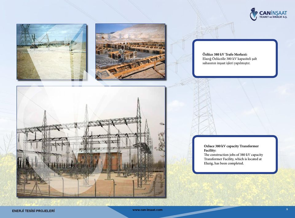 Ozluce 380 kv capacity Transformer Facility: The construction jobs of