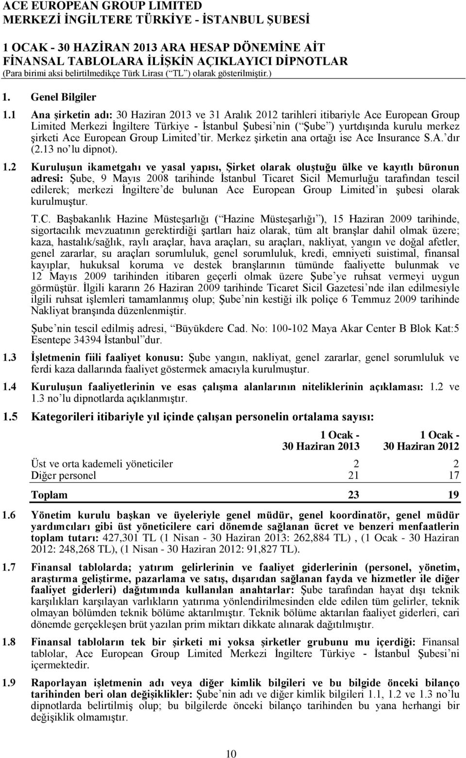 European Group Limited tir. Merkez şirketin ana ortağı ise Ace Insurance S.A. dır (2.13 no lu dipnot). 1.
