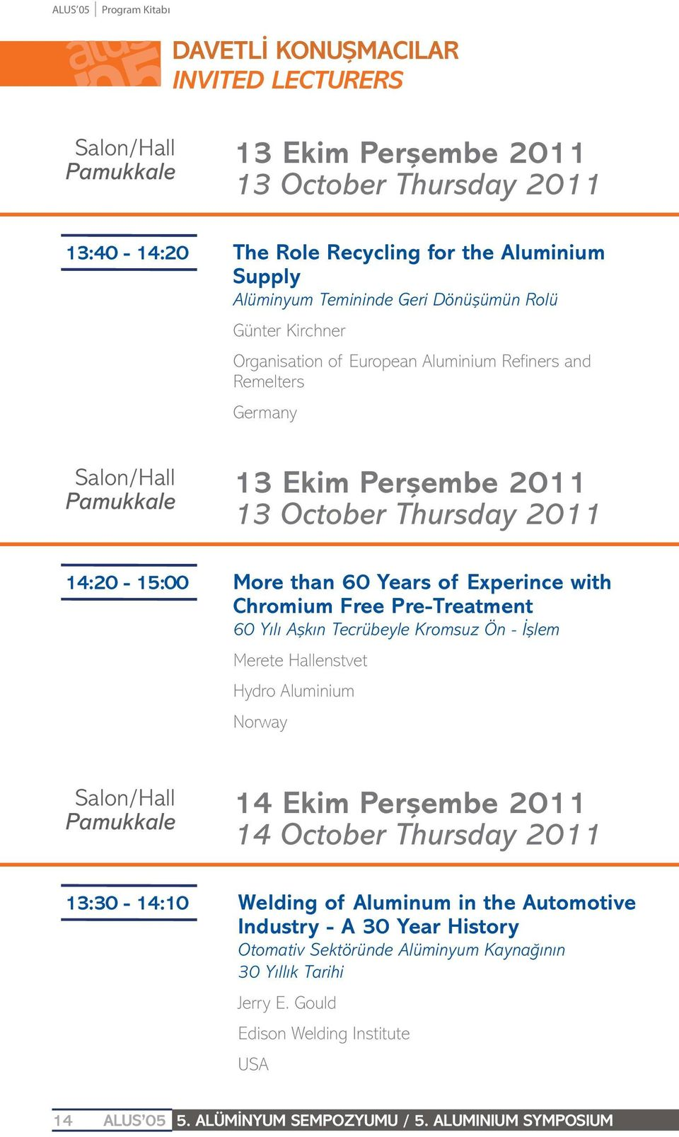than 60 Years of Experince with Chromium Free Pre-Treatment 60 Yılı Aşkın Tecrübeyle Kromsuz Ön - İşlem Merete Hallenstvet Hydro Aluminium Norway Salon/Hall Pamukkale 14 Ekim Perşembe 2011 14 October