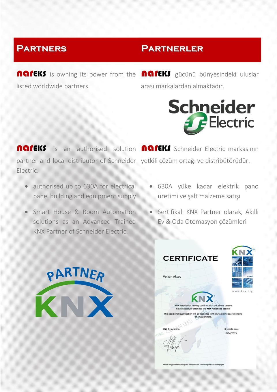 authorised up to 630A for electrical panel building and equipment supply Smart House & Room Automation solutions as an Advanced Trained KNX Partner of