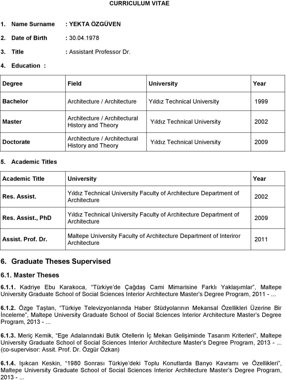 Architectural History and Theory Yıldız Technical University 2002 Yıldız Technical University 2009 5. Academic Titles Academic Title University Year Res. Assist. Res. Assist., PhD Assist. Prof. Dr.
