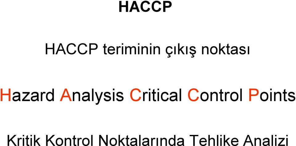 Critical Control Points