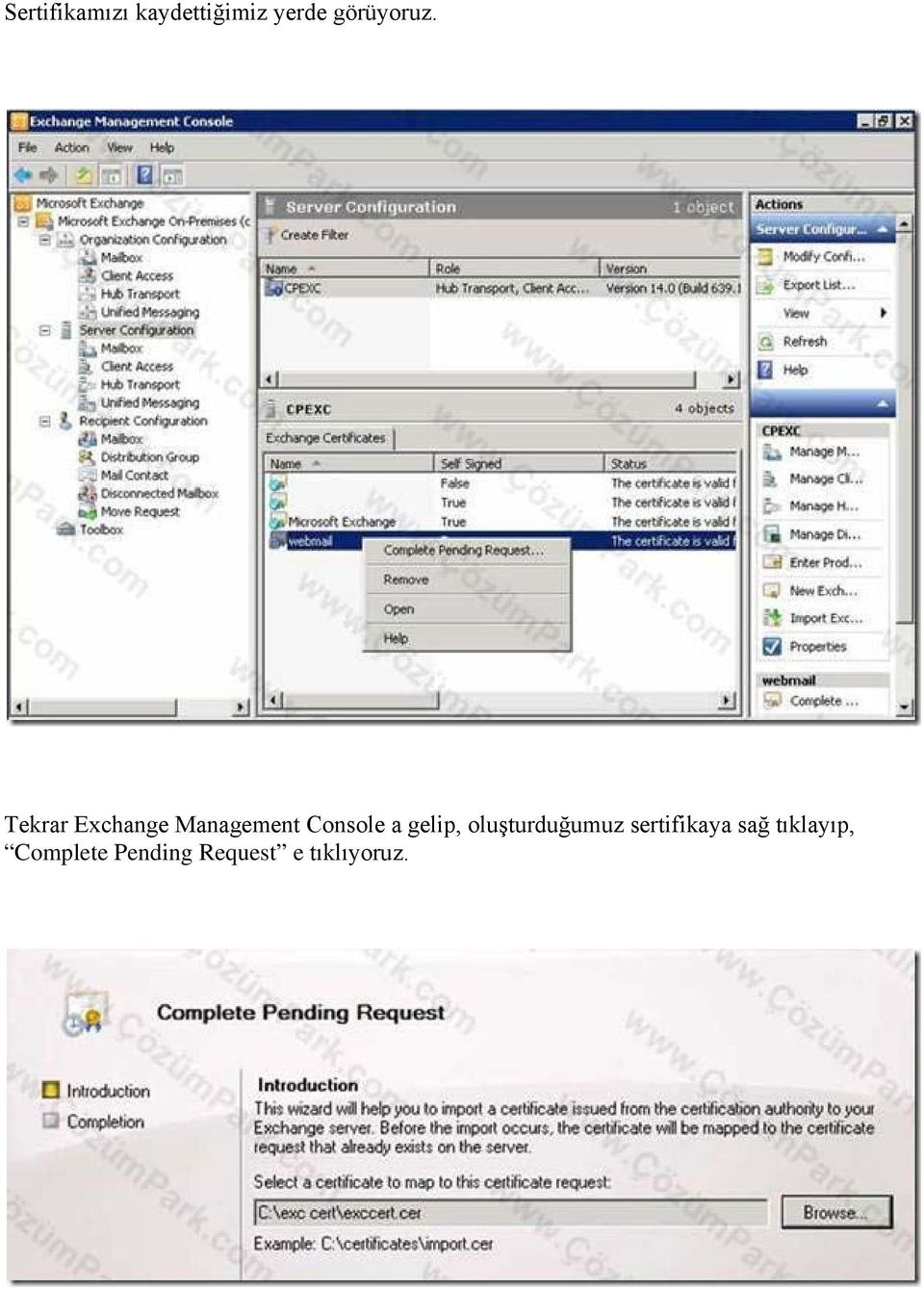 Tekrar Exchange Management Console a