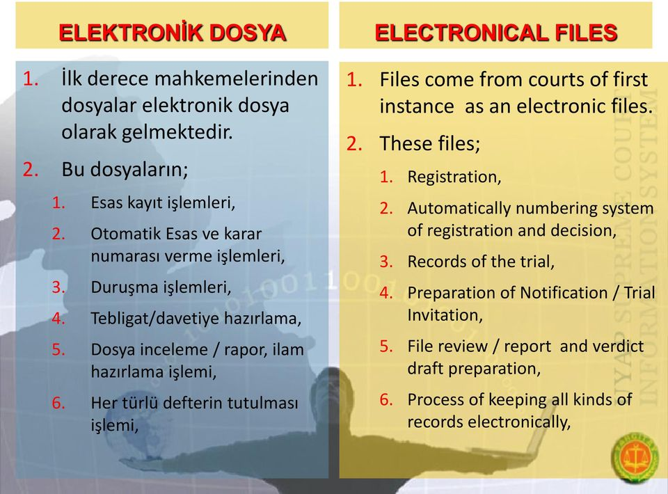Her türlü defterin tutulması işlemi, ELECTRONICAL FILES 1. Files come from courts of first instance as an electronic files. 2. These files; 1. Registration, 2.
