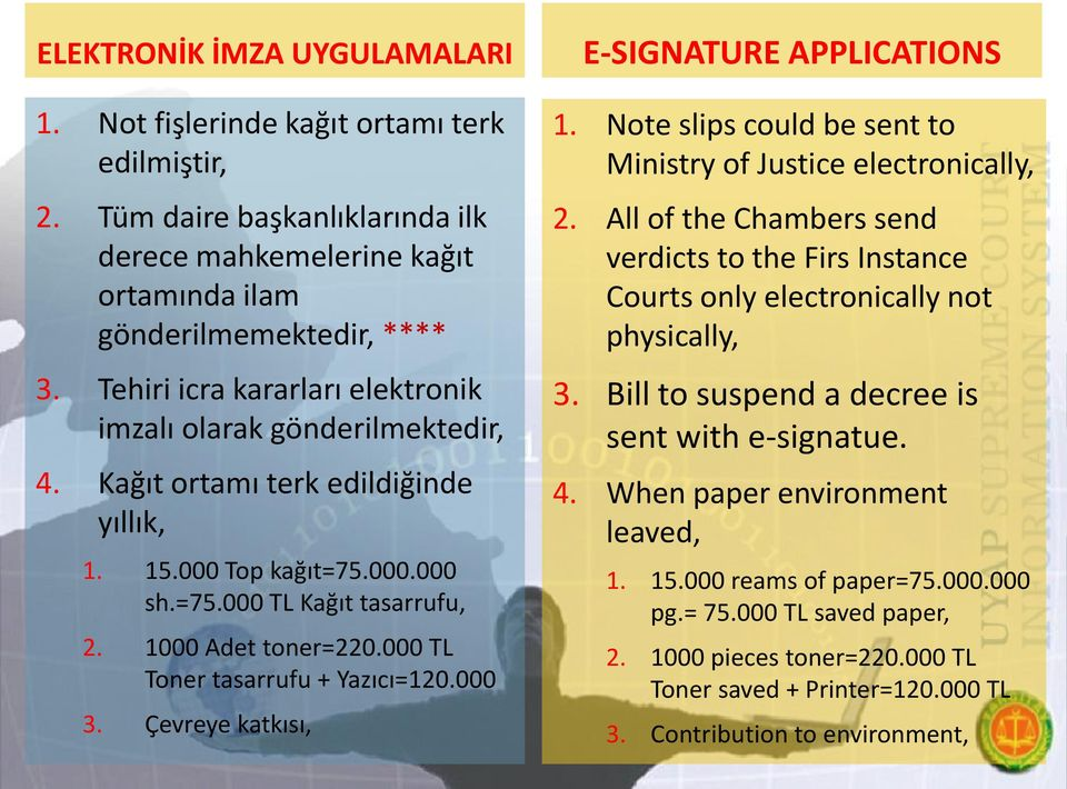000 TL Toner tasarrufu + Yazıcı=120.000 3. Çevreye katkısı, E-SIGNATURE APPLICATIONS 1. Note slips could be sent to Ministry of Justice electronically, 2.
