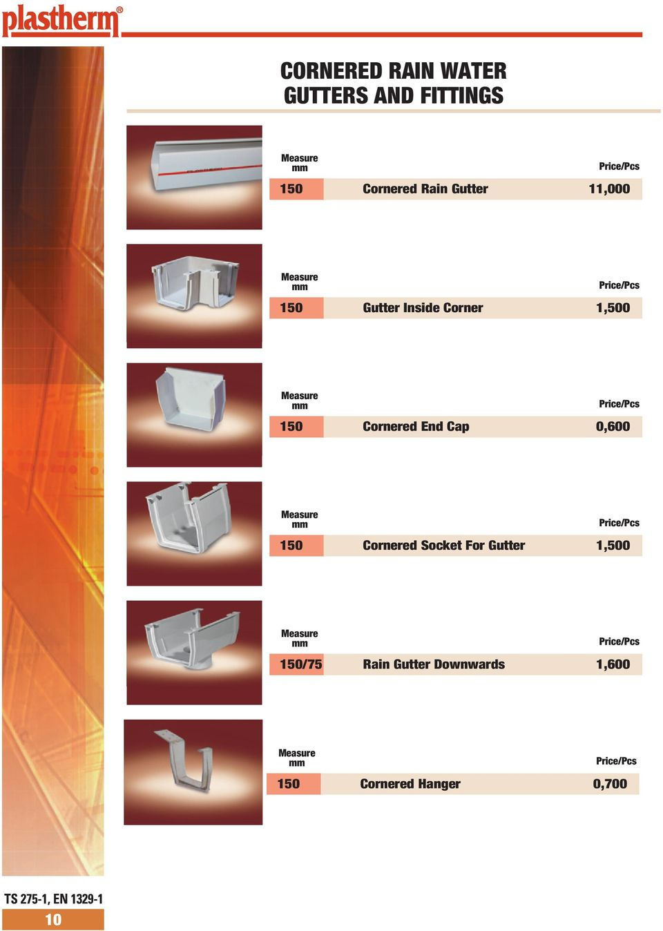 Cornered End Cap 0,600 Price/Pcs 1 Cornered Socket For Gutter 1,0