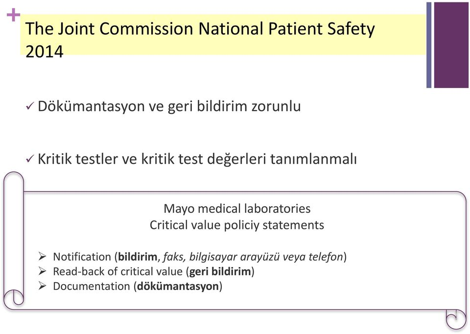 laboratories Critical value policiy statements Notification (bildirim, faks,