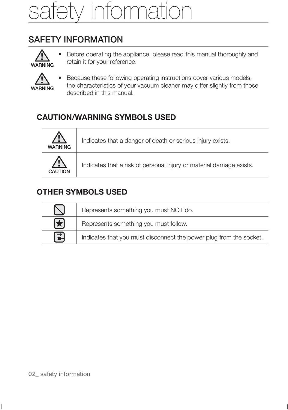 manual. CAUTION/WARNING SYMBOLS USED WARNING Indicates that a danger of death or serious injury exists.