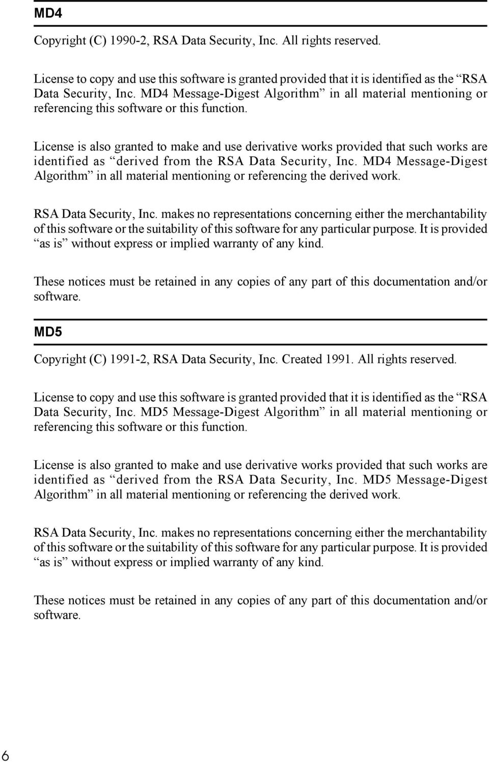 License is also granted to make and use derivative works provided that such works are identified as derived from the RSA Data Security, Inc.