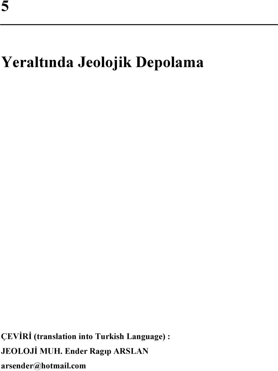 Turkish Language) : JEOLOJİ MUH.