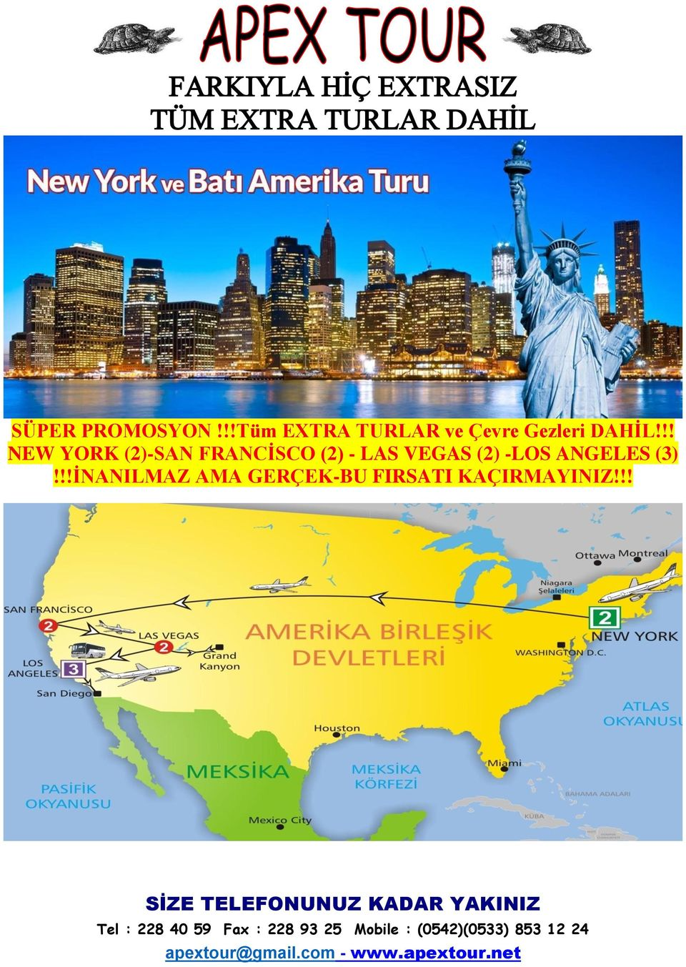 !! NEW YORK (2)-SAN FRANCİSCO (2) - LAS
