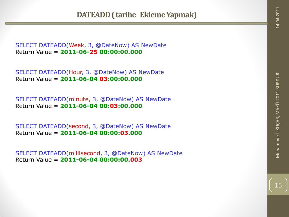 000 SELECT DATEADD(minute, 3, @DateNow) AS NewDate Return Value = 2011-06-04 00:03:00.