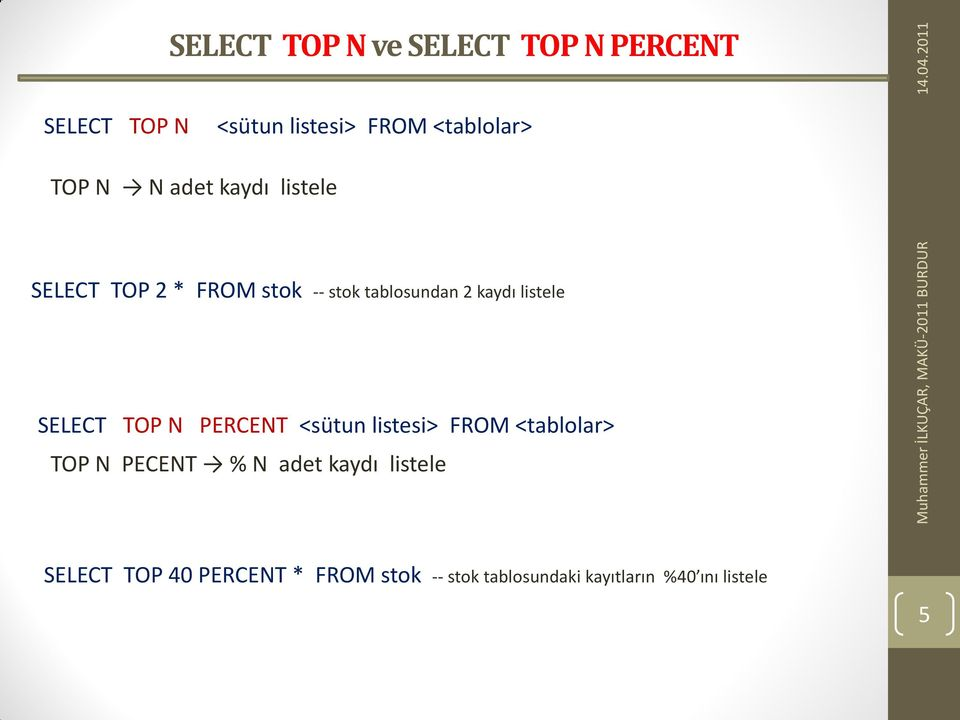 SELECT TOP N PERCENT <sütun listesi> FROM <tablolar> TOP N PECENT % N adet kaydı