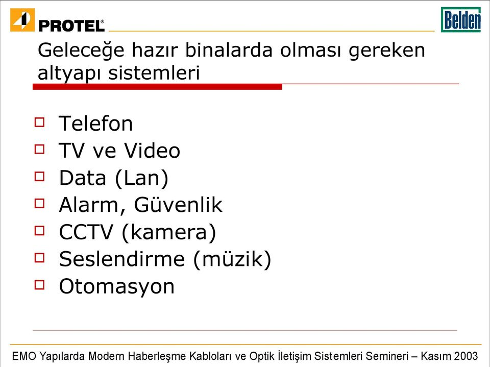 ve Video Data (Lan) Alarm, Güvenlik