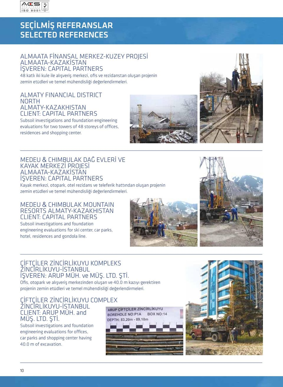 ALMATY FINANCIAL DISTRICT NORTH ALMATY-KAZAKHISTAN CLIENT: CAPITAL PARTNERS Subsoil investigations and foundation engineering evaluations for two towers of 48 storeys of offices, residences and
