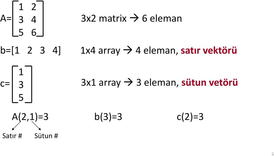 c= 1 3 5 3x1 array 3 eleman, sütun