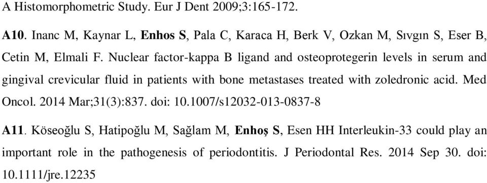 Nuclear factor-kappa B ligand and osteoprotegerin levels in serum and gingival crevicular fluid in patients with bone metastases treated with