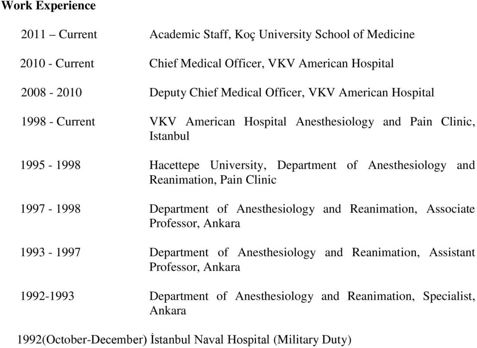 Anesthesiology and Reanimation, Pain Clinic 1997-1998 Department of Anesthesiology and Reanimation, Associate Professor, Ankara 1993-1997 Department of Anesthesiology