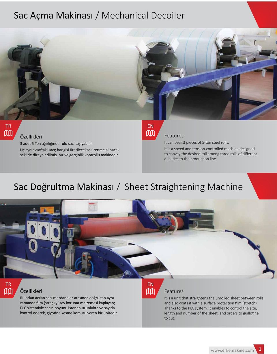 It is a speed and tension-controlled machine designed to convey the desired roll among three rolls of different qualities to the production line.