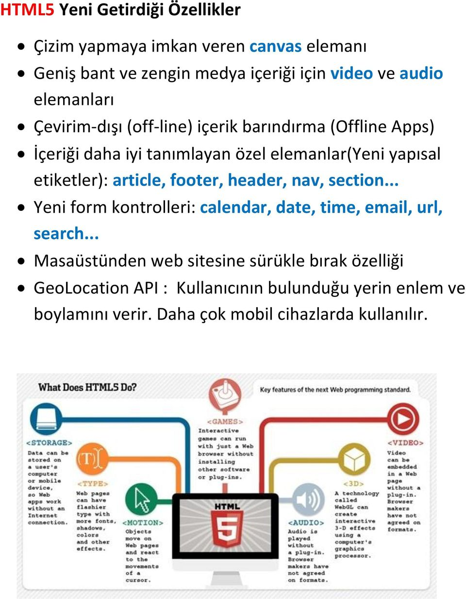 etiketler): article, footer, header, nav, section... Yeni form kontrolleri: calendar, date, time, email, url, search.