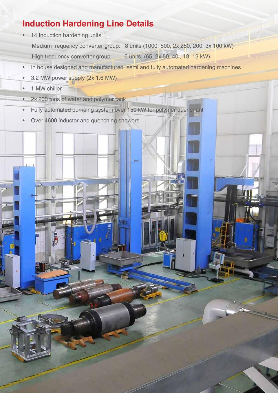 manufactured semi and fully automated hardening machines 3.2 MW power supply (2x 1.