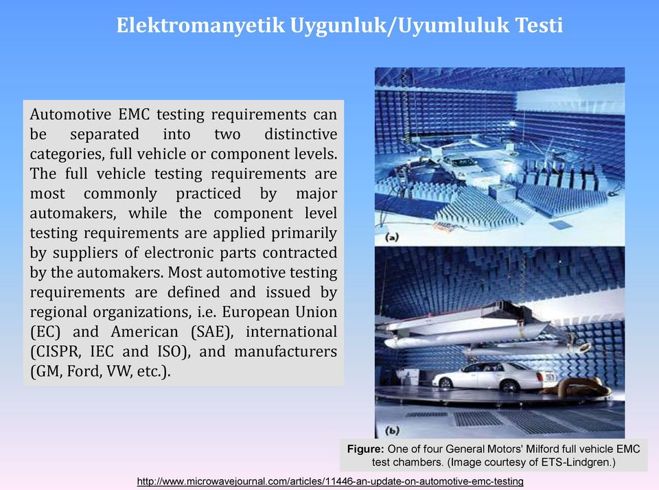 parts contracted by the automakers. Most automotive testing requirements are defined and issued by regional organizations, i.e. European Union (EC) and American (SAE), international (CISPR, IEC and ISO), and manufacturers (GM, Ford, VW, etc.