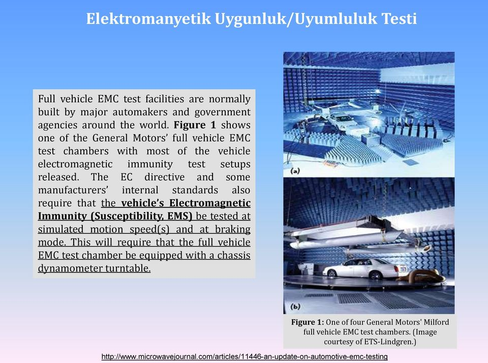 The EC directive and some manufacturers internal standards also require that the vehicle s Electromagnetic Immunity (Susceptibility, EMS) be tested at simulated motion speed(s) and at