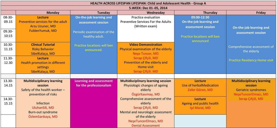 LIFESPAN: Child and Adolescent Health - Group A 5.WEEK: Dec 01-05, 2014 Periodic examination of the healthy adult. n.