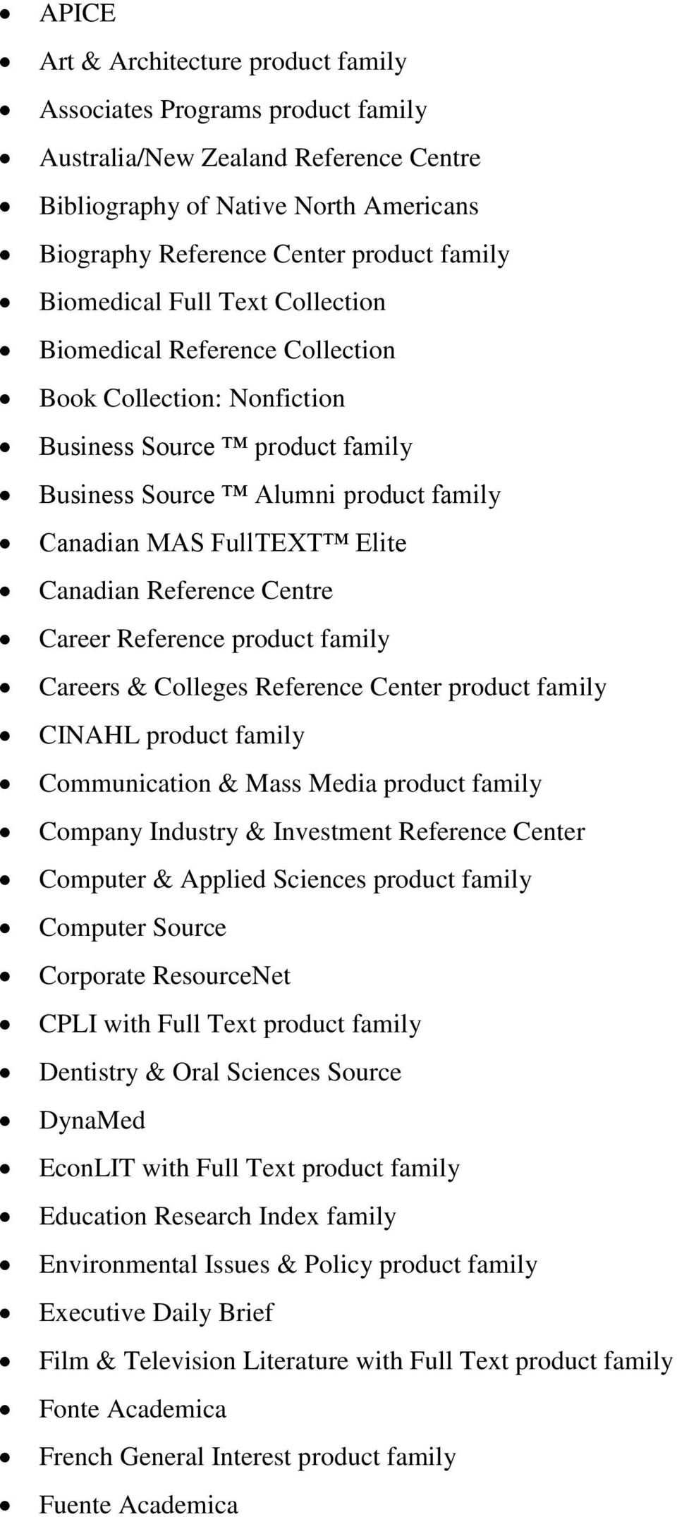 Reference Centre Career Reference product family Careers & Colleges Reference Center product family CINAHL product family Communication & Mass Media product family Company Industry & Investment