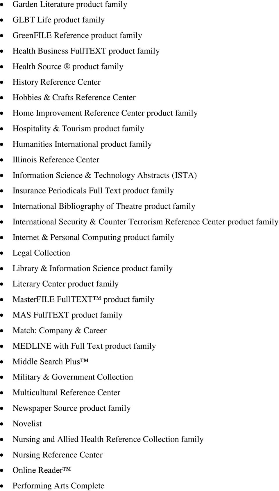 Technology Abstracts (ISTA) Insurance Periodicals Full Text product family International Bibliography of Theatre product family International Security & Counter Terrorism Reference Center product