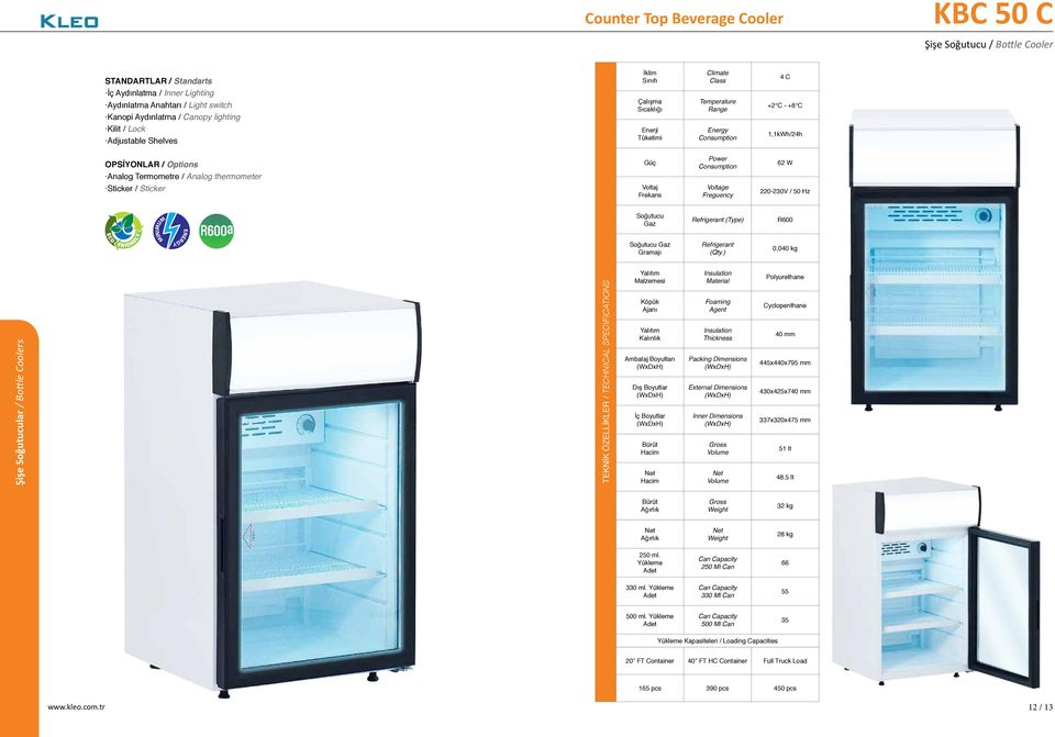 (Type) R600 0,040 kg Şişe lar / Bottle Coolers 40 mm 445x440x795 mm 430x425x740 mm 337x320x475 mm 51 lt 48.