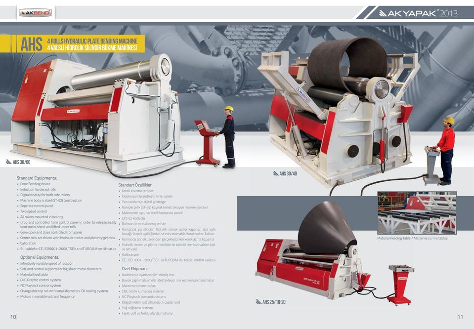 and lifted upper rolls Cone open and close controlled from panel Center rolls are driven with hydraulic motor and planetry gearbox Calibration SuitableforCE,ISO9001-2008,TSEKandTURQUMcertificates