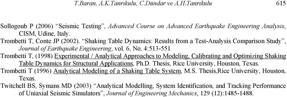 4:53-55 Trombetti T, (998) Experimental / Analytical Approaches to Modeling, Calibrating and Optimizing Shaking Table Dynamics for Structural Applications, Ph.D. Thesis, Rice University, Houston, Texas.