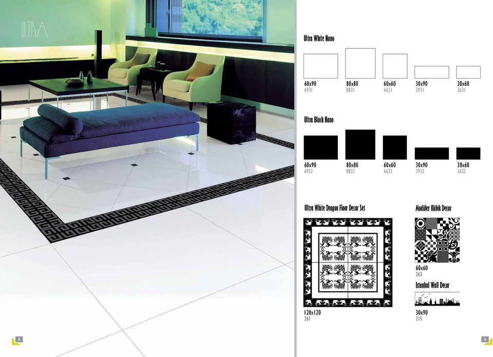 8832 6632 3932 3632 Ultra White Dragon Floor Decor Set