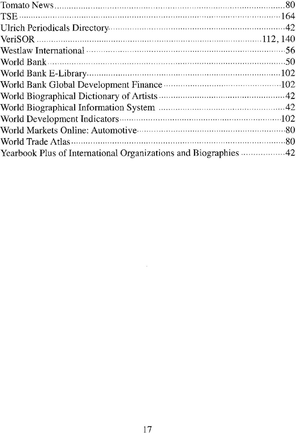 Development Finance 102 World Biographical Dictionary of Artists 42 World Biographical Information