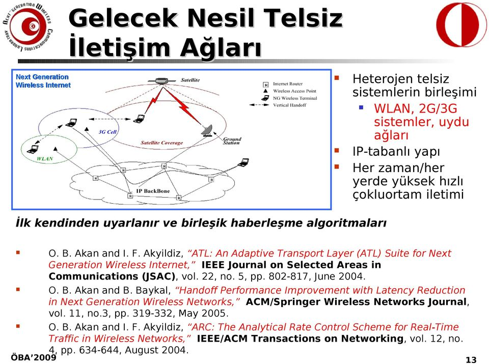 Akyildiz, ATL: An Adaptive Transport Layer (ATL) Suite for Next Generation Wireless Internet, IEEE Journal on Selected Areas in Communications (JSAC), vol. 22, no. 5, pp. 802-817, June 2004. O. B.