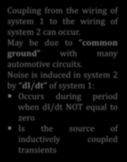 Automotive Wiring Inductive Coupling Coupling from the wiring of system 1 to the wiring of system 2 can occur.