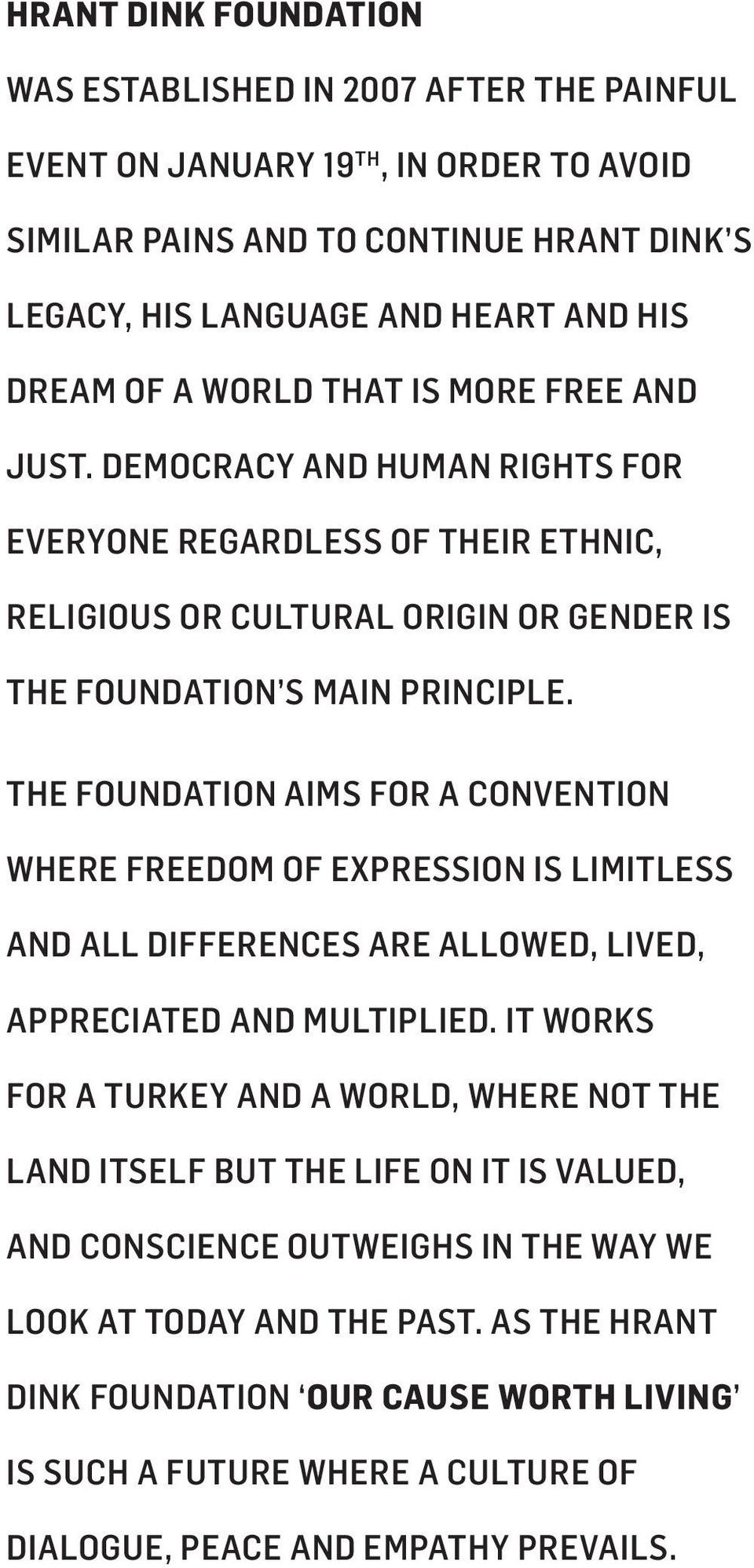 THE FOUNDATION AIMS FOR A CONVENTION WHERE FREEDOM OF EXPRESSION IS LIMITLESS AND ALL DIFFERENCES ARE ALLOWED, LIVED, APPRECIATED AND MULTIPLIED.