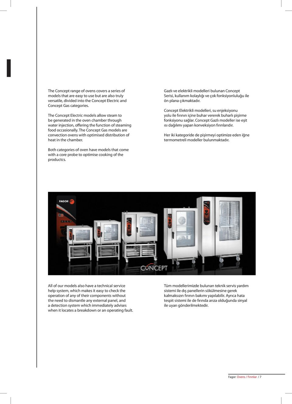 The Concept Gas models are convection ovens with optimised distribution of heat in the chamber.