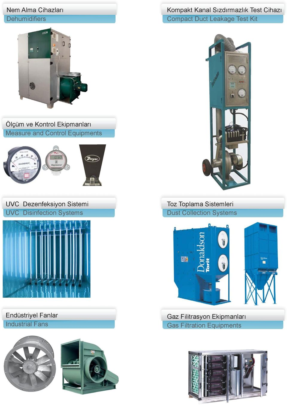 Dezenfeksiyon Sistemi UVC Disinfection Systems Toz Toplama Sistemleri Dust Collection