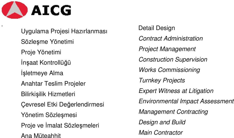 Müteahhit Detail Design Contract Administration Project Management Construction Supervision Works Commissioning