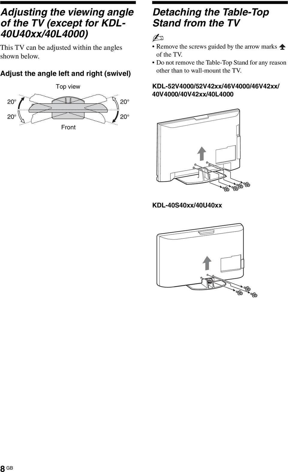 Adjust the angle left and right (swivel) Top view Detaching the Table-Top Stand from the TV Remove the screws