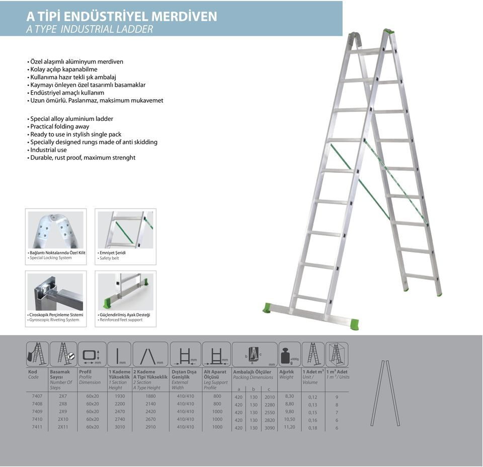 Paslanmaz, maksimum mukavemet Special alloy aluminium ladder Practical folding away Ready to use in stylish single pack Specially designed rungs made of anti skidding Industrial use Durable, rust