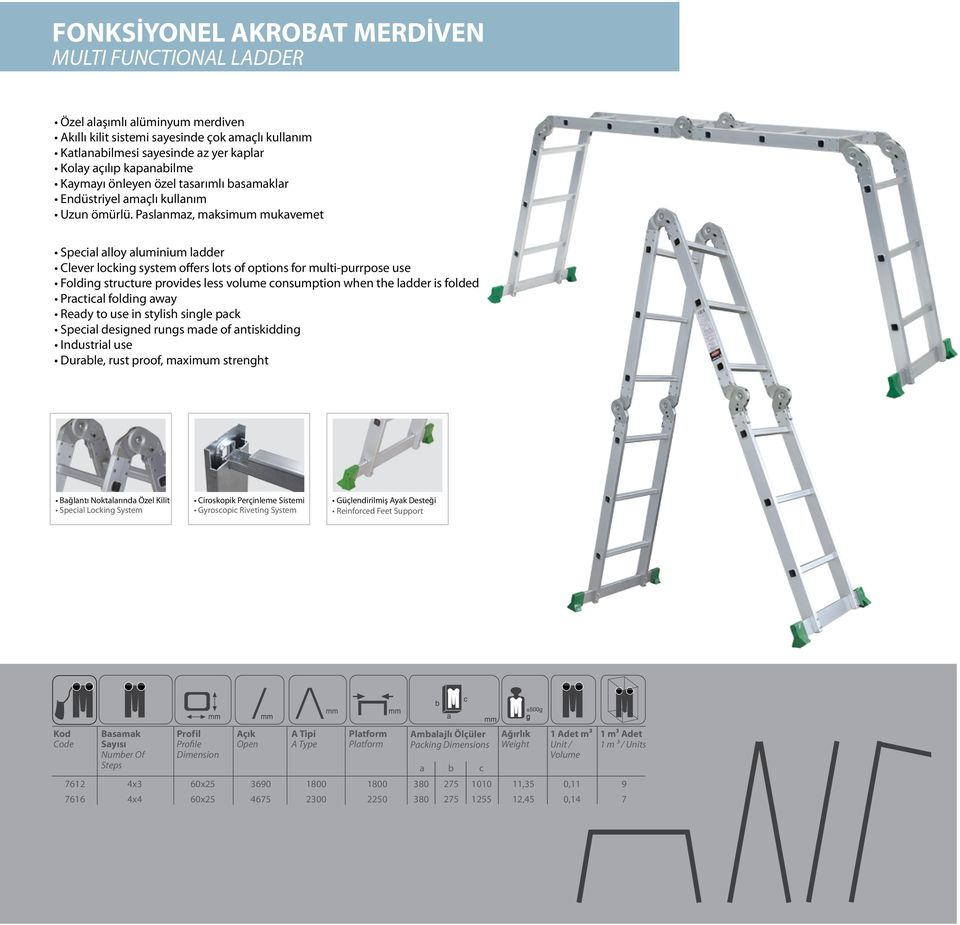 Paslanmaz, maksimum mukavemet Special alloy aluminium ladder Clever locking system offers lots of options for multi-purrpose use Folding structure provides less volume consumption when the ladder is