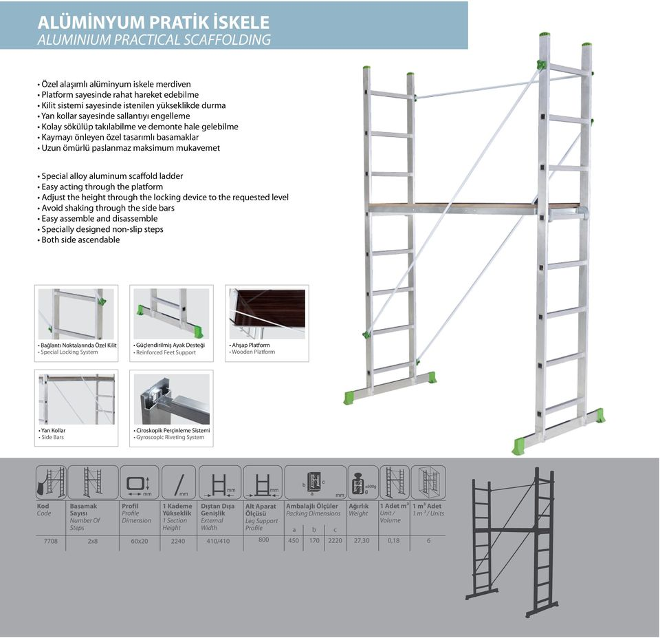 scaffold ladder Easy acting through the platform Adjust the height through the locking device to the requested level Avoid shaking through the side bars Easy assemble and disassemble Specially
