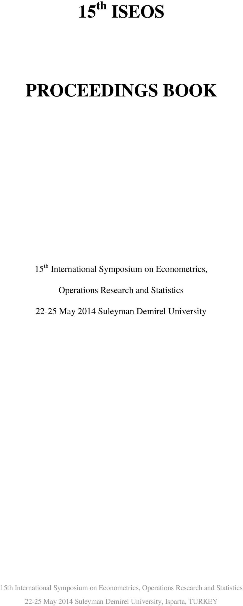 Demirel University 15th International Symposium on  Demirel University,