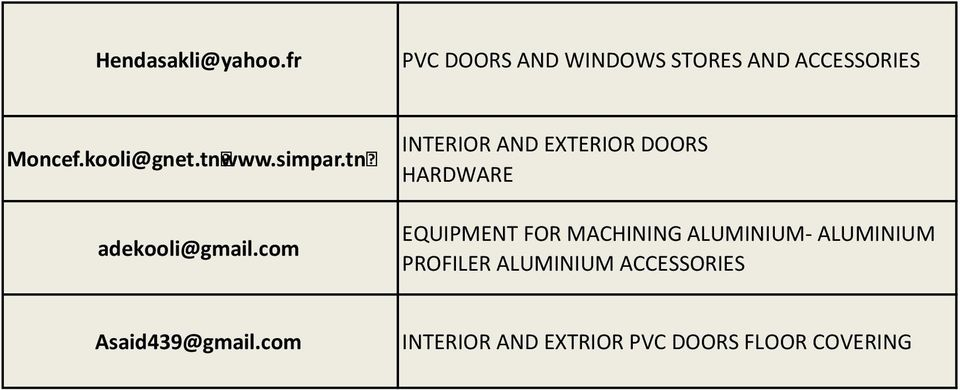 com INTERIOR AND EXTERIOR DOORS HARDWARE EQUIPMENT FOR MACHINING