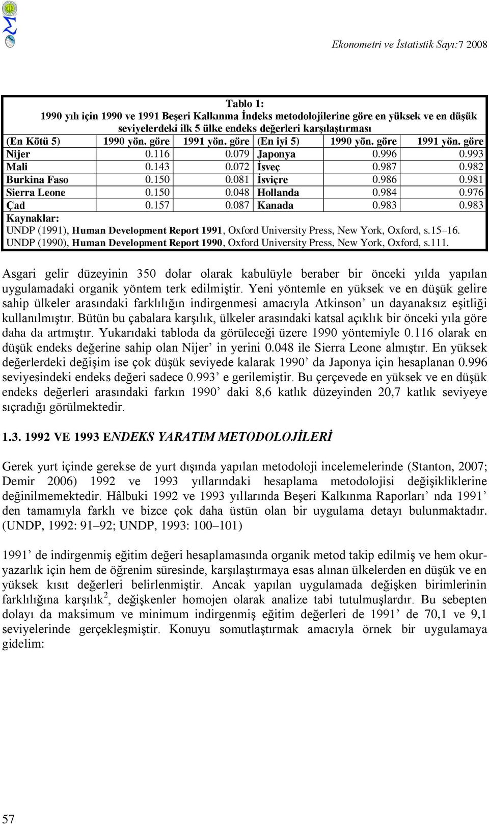150 0.048 Hollanda 0.984 0.976 Çad 0.157 0.087 Kanada 0.983 0.983 Kaynaklar: UNDP (1991), Human Development Report 1991, Oxford Unversty Press, New York, Oxford, s.15 16.