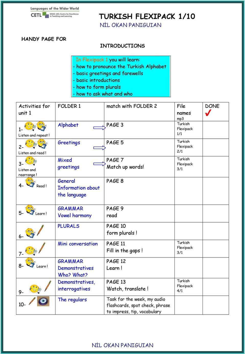 FOLDER 1 match with FOLDER 2 File names mp3 Alphabet PAGE 3 Turkish Flexipack 1/1 Greetings PAGE 5 Turkish Flexipack 2/1 DONE 3- Listen and rearrange! Mixed greetings PAGE 7 Match up words!
